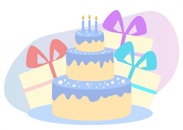 Pastel con velas. cajas de regalo