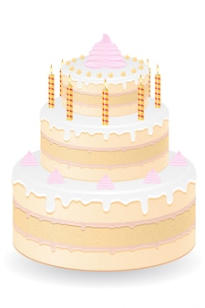 Pastel con velas encendidas ilustración vectorial
