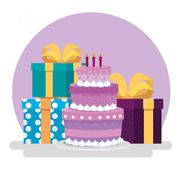 Pastel con velas y regalos con arcos de cinta