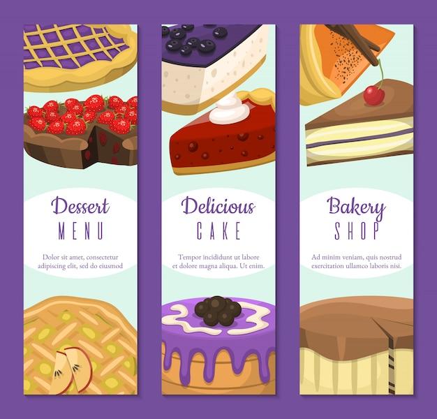 Pastelería conjunto de banners. postres de chocolate y frutas para pastelería