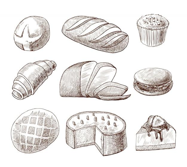 Pastelería y pan conjunto dibujado a mano.
