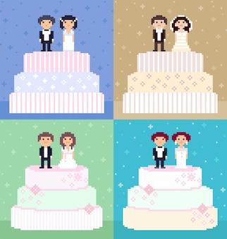 Pasteles de boda de pixel art con parejas en la parte superior. personajes de 8 bits, novias y novios.