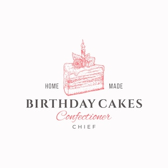 Pasteles de cumpleaños jefe plantilla de logotipo de confitería de calidad premium pieza de pastel dibujada a mano y panadería de tipografía