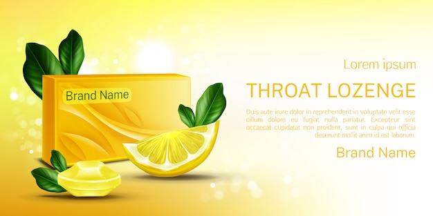 Pastilla para la garganta, pancarta para la tos con limón