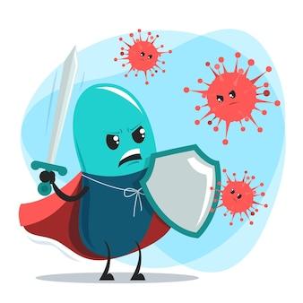 Pastilla valiente con espada y escudo lucha con virus y bacterias.