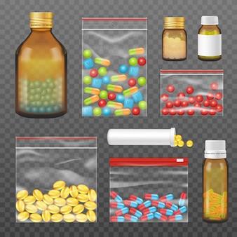 Pastillas cápsulas paquetes realista conjunto transparente
