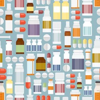Pastillas de colores y medicamentos en patrones sin fisuras para el diseño de fondo.