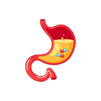 Pastillas dentro de un estómago humano. concepto de tratamiento médico. ilustración.