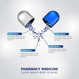 Pastillas farmacia ilustración datos infografía plantilla