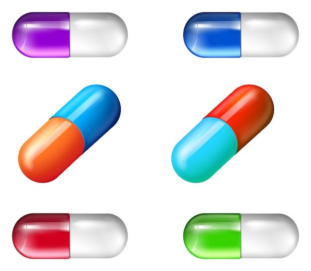 Pastillas medicinales coloridas