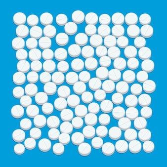Pastillas pastillas médicas blancas sobre fondo azul. ilustración de diseño plano.