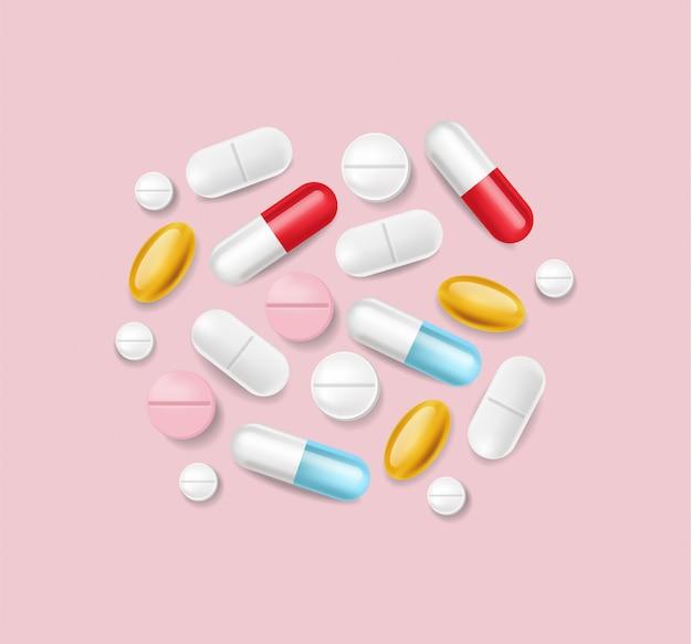 Pastillas realistas. pila médica de diferentes ilustraciones 3d de medicina