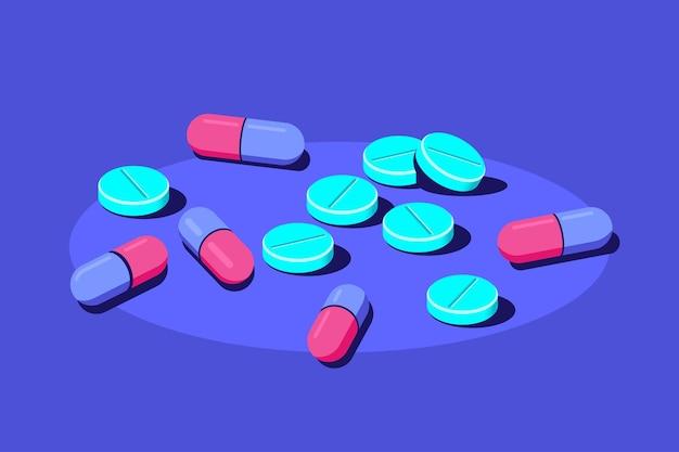 Pastillas y tabletas de medicamentos sobre fondo azul. medicamentos, concepto farmacéutico. ilustración de estilo plano.