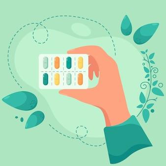 Pastillas y vitaminas. concepto de medicina y productos farmacéuticos. en un estilo plano.