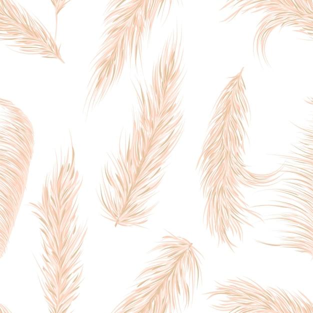 Pasto seco de la pampa de patrones sin fisuras en el estilo boho. decoración de invitaciones, estampado textil