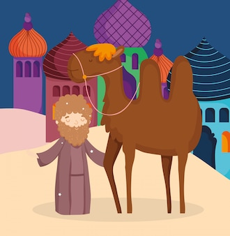 Pastor con camello pesebre del desierto natividad, feliz navidad