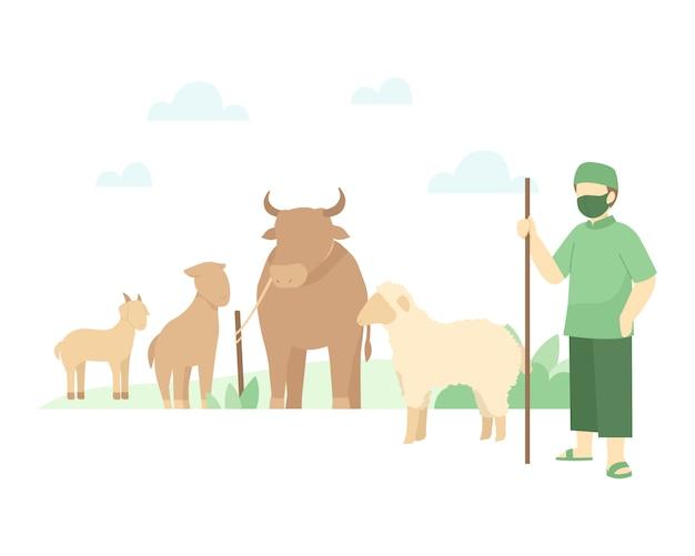 Pastor está cuidando su ganado