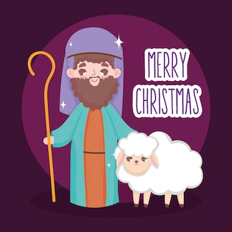 Pastor con pesebre de ovejas, feliz navidad