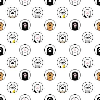 Pata de gato, seamless, patrón, caricatura, gatito, huella, lunares