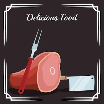 Pata de jamón y utensilios de cocina.