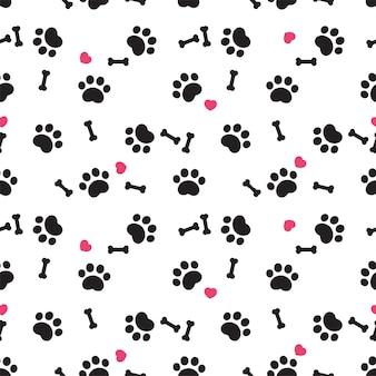 Pata de perro, huella, seamless, patrón, hueso, corazón