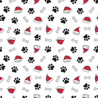 Pata de perro, navidad, santa claus, sombrero, seamless, patrón