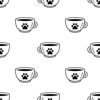 Pata de perro sin patrón huella taza de café té ilustración de dibujos animados