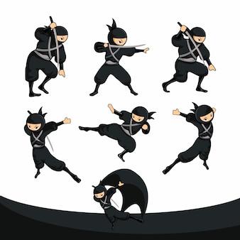 Patada ninja de dibujos animados negro y caída en versión real