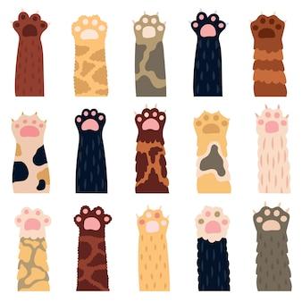 Patas de gato. pata de gatito lindo, garabatos divertidas patas de piel de gato doméstico, huellas de gatito doméstico, mascotas con garras iconos de ilustración. gatito amigable con la pata, doméstico esponjoso varios