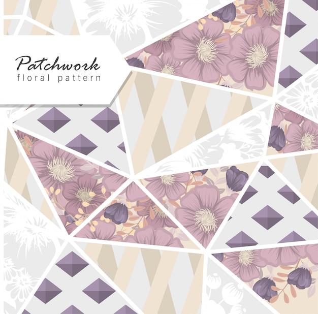 Patchwork abstracto con flores