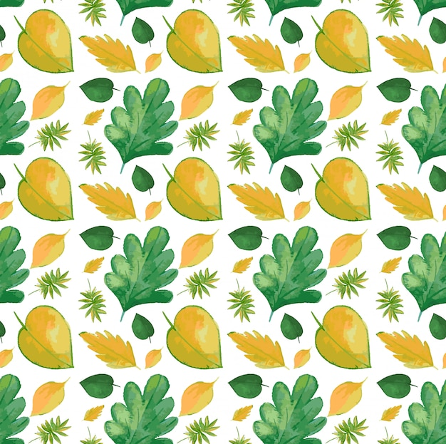 Patern sin costuras con hojas amarillas
