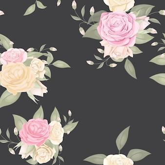 Patern floral transparente con ramo de rosas
