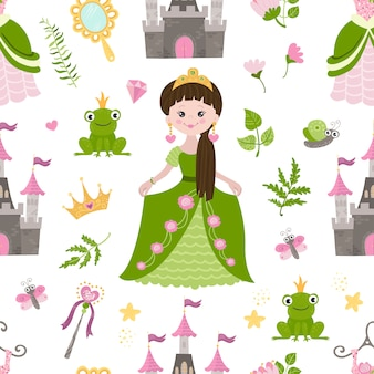 Patern perfecta con bella princesa, castillo