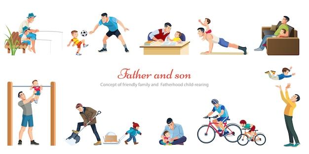 Paternidad, crianza de los hijos, jugar a caminar, pescar, con, niños, retro, caricatura, iconos, banderas, conjunto, aislado
