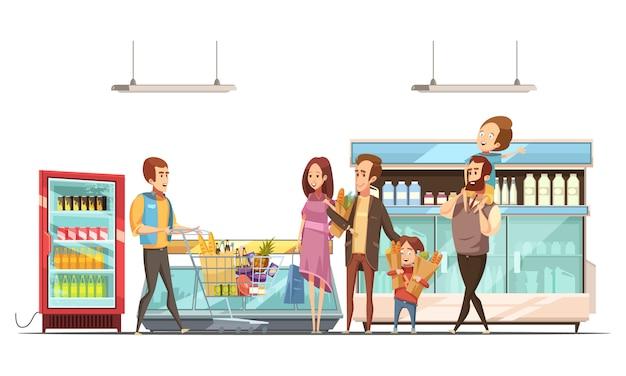 Paternidad, trabajo doméstico, compras de comestibles para la familia con niños en supermercado, ilustración vectorial de dibujos animados retro cartel