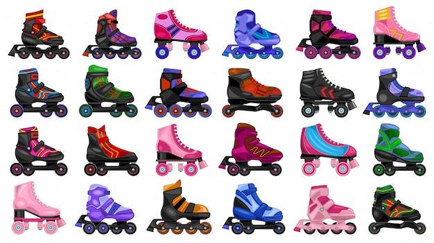 Patín rodillo de dibujos animados conjunto de iconos. ilustración patines sobre fondo blanco. conjunto de dibujos animados icono skate skate.