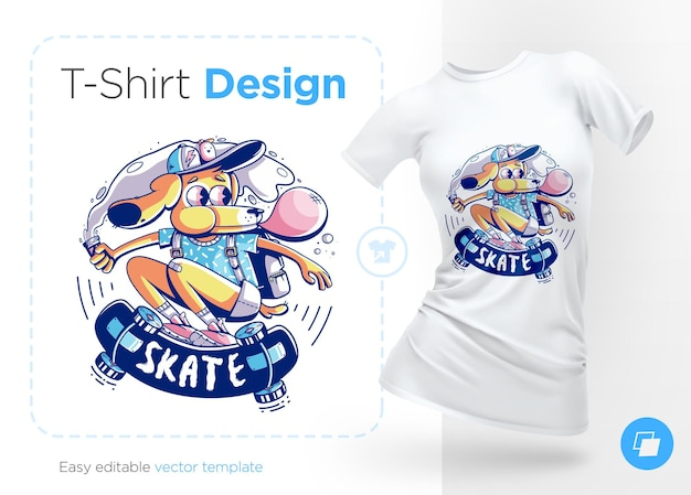 Patinador de perros con ilustración de chicle y diseño de camiseta