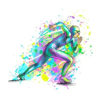 Patinadores de velocidad abstractos de salpicaduras de acuarelas. deporte de invierno pista corta. ilustración de pinturas