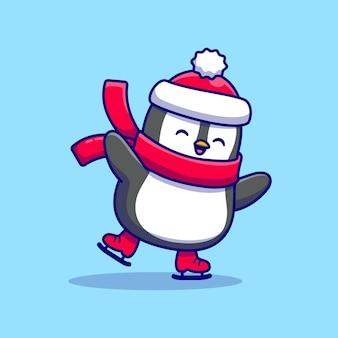Patinaje sobre hielo lindo pingüino con personaje de dibujos animados de bufanda. deporte animal aislado.