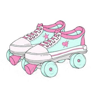 Patines de cuatro ruedas aislados. botas con cordones retro, ilustración vectorial colorido.
