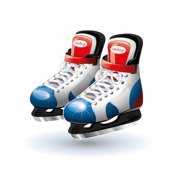 Patines realistas del hockey sobre hielo aislados en blanco.
