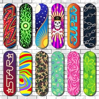 Patineta skateboarders para saltos de skateboard en trampolín en skatepark set ilustración de herramientas de patinaje aislado sobre fondo