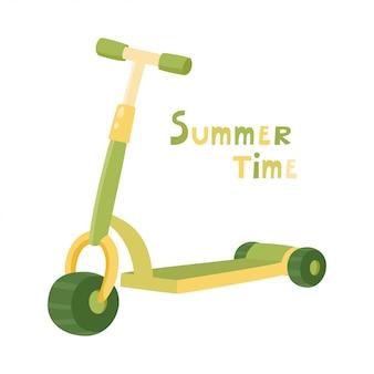 Patinete de ruedas. balance de bicicleta. patinete de patada de color lindo de dibujos animados para diseño o páginas web, carteles. vespa verde del empuje aislada en el fondo blanco. eco transporte para niños