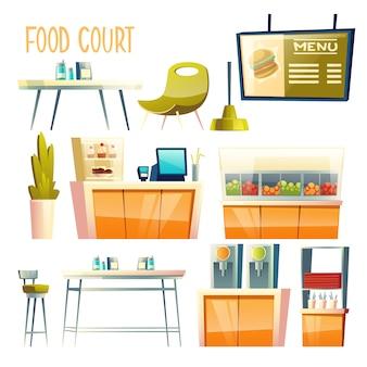 Patio de comidas, cafetería de autoservicio, elementos interiores del centro de vendedores ambulantes