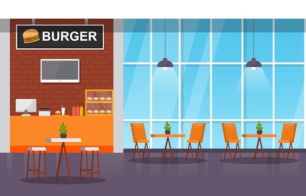 Patio interior interior interior restaurante vacío cafetería ilustración