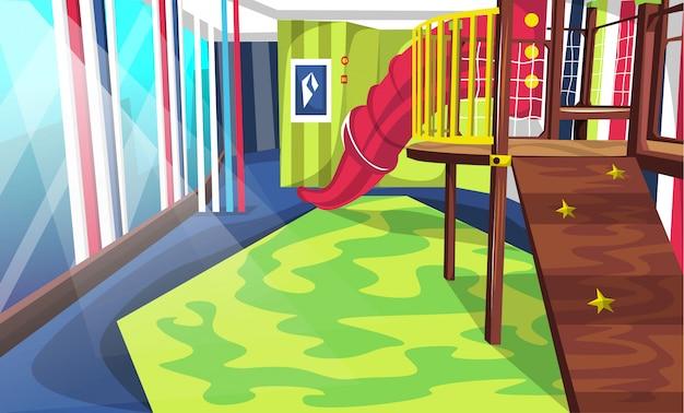 Patio de juegos en la escuela con toboganes y escaleras de túnel, caja llena de juguetes y muñecas para diseño de interiores de vectores