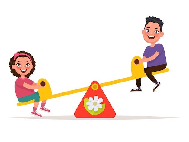 Patio de recreo. niños en un columpio de equilibrio. ilustración