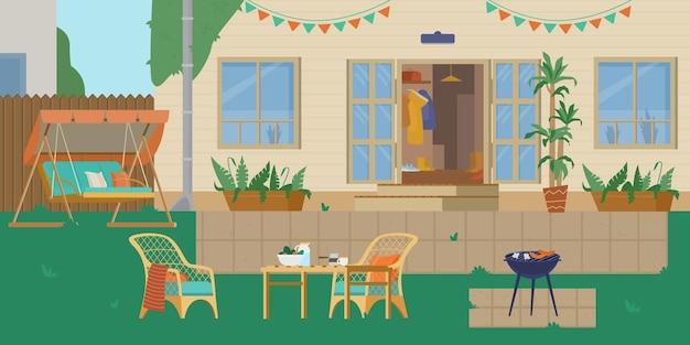 Patio trasero de la casa o patio con parrilla