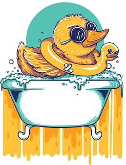 Pato en la bañera ilustraciones