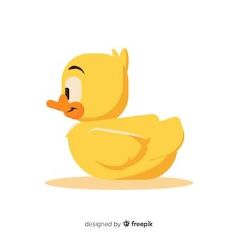 Pato de goma amarillo plano aislado